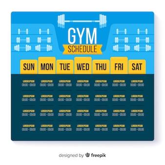Horaire hebdomadaire moderne de gym avec design plat