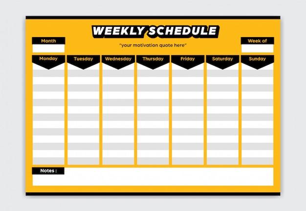 Horaire hebdomadaire planificateur de style de couleur jaune et noir audacieux du lundi au dimanche