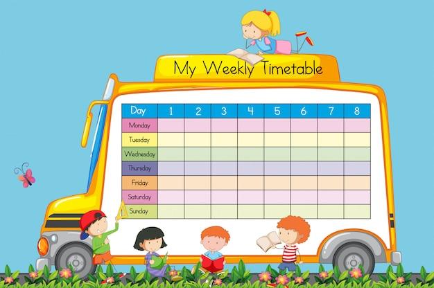Horaire hebdomadaire sur le thème de l'autobus scolaire