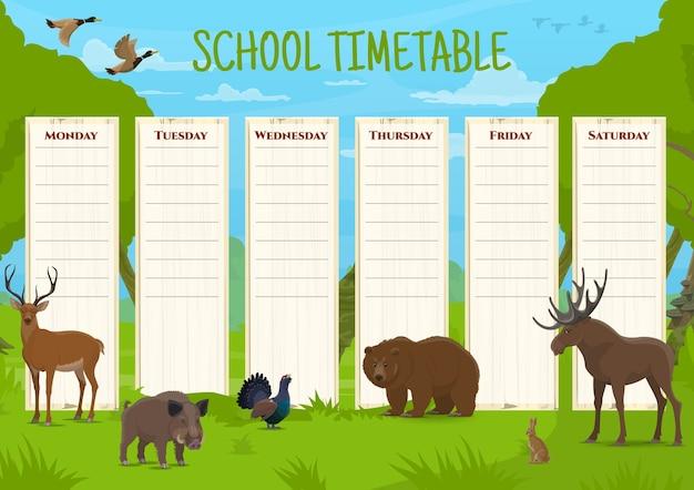 Horaire scolaire avec des animaux sauvages, programme éducatif avec cerf, sanglier et tétras lyre, ours et élan, lièvre et canard. planificateur de leçons quotidiennes pour enfants, modèle de dessin animé de table de temps éducatif