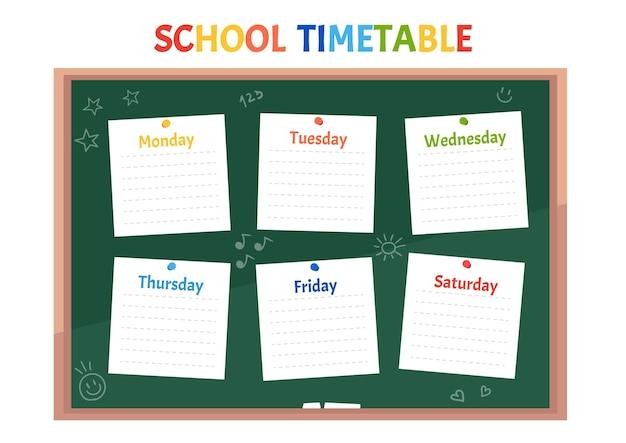 Horaire scolaire horaire des cours sur le tableau vert de la classe avec des notes autocollantes pour toutes les matières