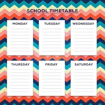 Horaire scolaire avec un joli motif en zigzag