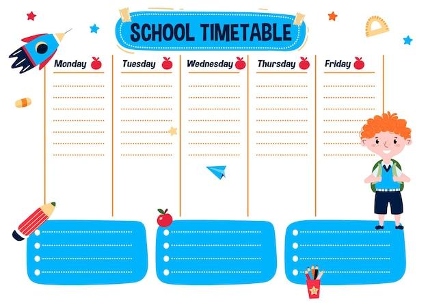 Horaire scolaire avec jour de la semaine horaire pour les enfants avec garçon plan d'éducation quotidien