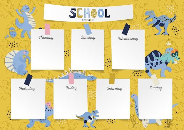 Horaire sous forme de formation du conseil et des autocollants avec un espace pour les notes