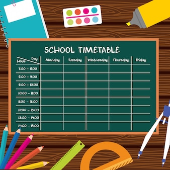 Horaires scolaires avec fournitures scolaires