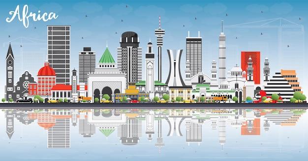Horizon de l'afrique avec des monuments célèbres et des réflexions. illustration vectorielle. concept de voyage d'affaires et de tourisme. image pour la présentation, la bannière, la pancarte et le site web.