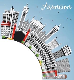 Horizon d'asuncion avec les bâtiments gris, le ciel bleu et l'espace de copie illustration vectorielle. concept de voyage d'affaires et de tourisme à l'architecture moderne. image pour la bannière de présentation et le site web.