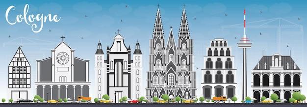 Horizon de cologne avec les bâtiments gris et le ciel bleu illustration vectorielle. concept de voyage d'affaires et de tourisme avec architecture historique. image pour la bannière de présentation et le site web.