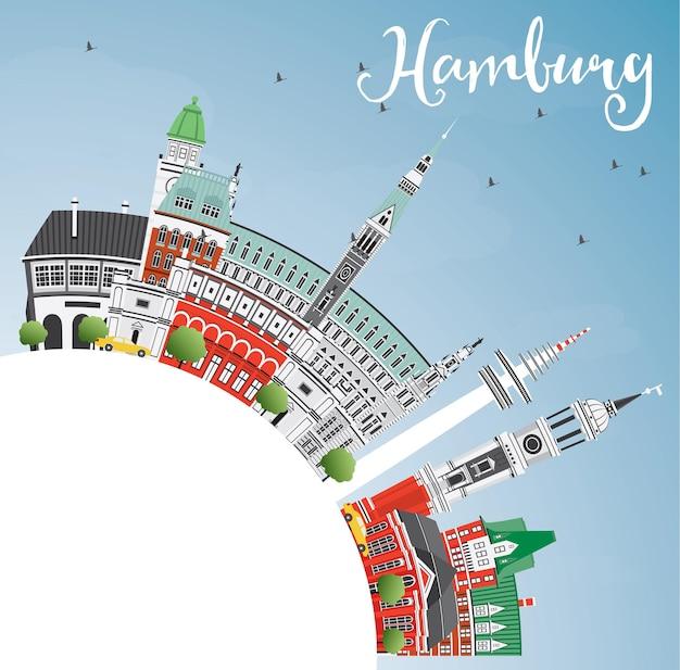 Horizon de hambourg avec les bâtiments gris, le ciel bleu et l'espace de copie illustration vectorielle. concept de voyage d'affaires et de tourisme avec architecture historique. image pour la bannière de présentation et le site web.
