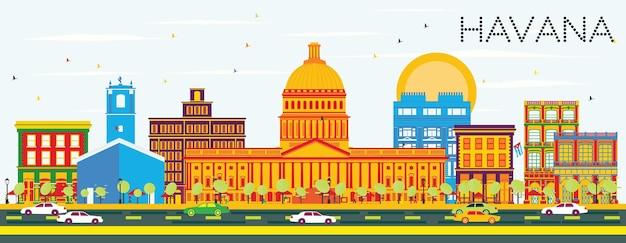 Horizon de la havane avec des bâtiments de couleur et un ciel bleu. illustration vectorielle. concept de voyage d'affaires et de tourisme avec architecture historique. image pour la bannière de présentation et le site web.