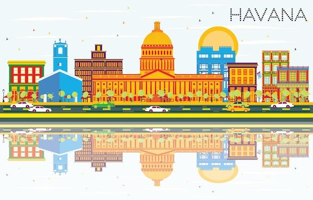 Horizon de la havane avec bâtiments de couleur, ciel bleu et reflets. illustration vectorielle. concept de voyage d'affaires et de tourisme avec architecture historique. image pour la bannière de présentation et le site web.