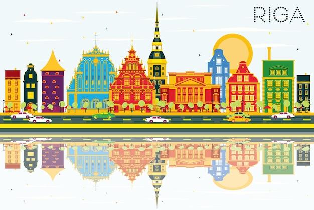 Horizon de riga avec des bâtiments de couleur, un ciel bleu et des reflets. illustration vectorielle. concept de voyage d'affaires et de tourisme avec architecture historique. image pour la bannière de présentation et le site web.
