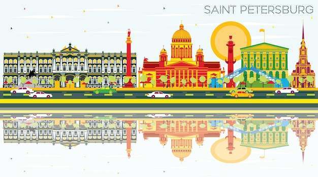 Horizon de saint-pétersbourg avec bâtiments de couleur, ciel bleu et reflets. illustration vectorielle. concept de voyage d'affaires et de tourisme. image pour la bannière de présentation et le site web.