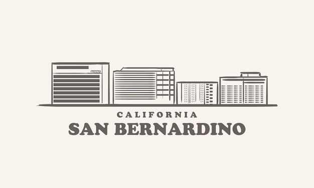 Horizon de san bernardino, croquis dessiné de la californie