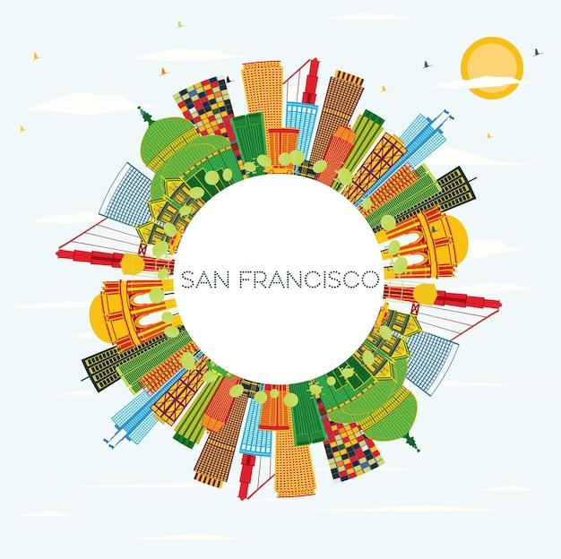 Horizon de san francisco avec bâtiments de couleur, ciel bleu et espace de copie. illustration vectorielle. concept de voyage d'affaires et de tourisme avec des bâtiments modernes. image pour la bannière de présentation et le site web.