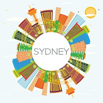 Horizon de sydney avec des bâtiments de couleur, un ciel bleu et un espace de copie. illustration vectorielle. concept de voyage d'affaires et de tourisme à l'architecture moderne. image pour la bannière de présentation et le site web.