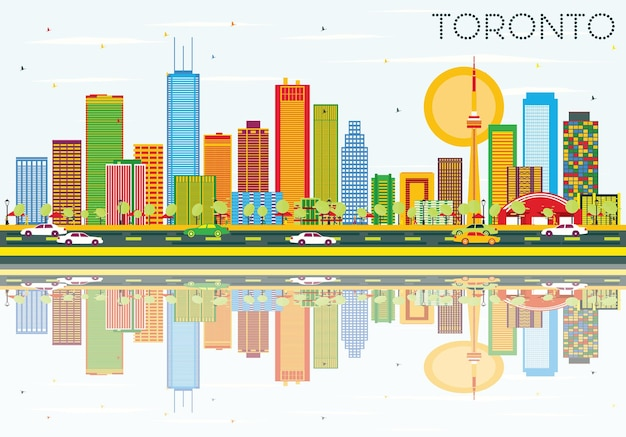 Horizon de toronto avec bâtiments de couleur, ciel bleu et reflets. illustration vectorielle. concept de voyage d'affaires et de tourisme avec architecture historique. image pour la bannière de présentation et le site web.