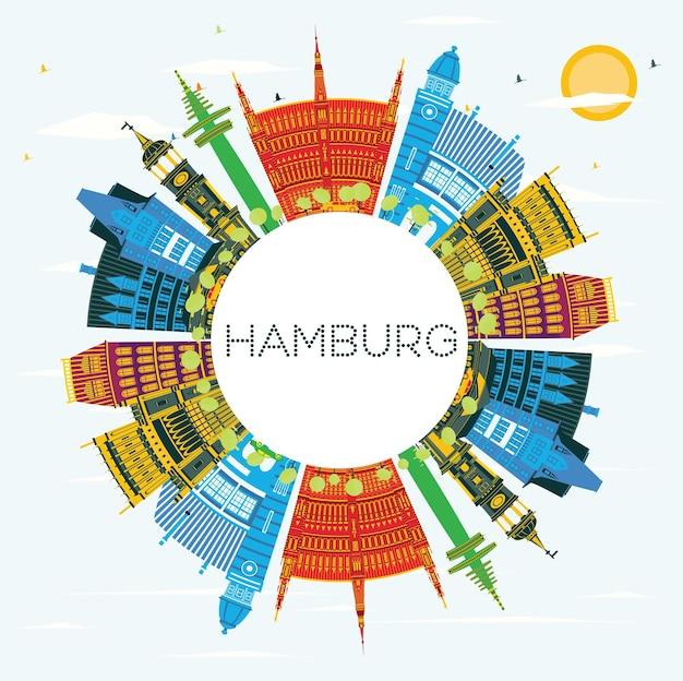 Horizon de ville de hambourg en allemagne avec des bâtiments de couleur, un ciel bleu et un espace de copie. illustration vectorielle. concept de voyage d'affaires et de tourisme avec architecture historique. paysage urbain de hambourg avec des points de repère.