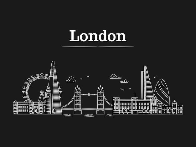 Horizon de la ville de londres linéaire blanc avec des bâtiments célèbres