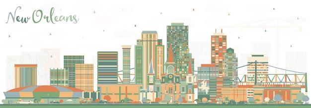 Horizon de la ville de la nouvelle-orléans en louisiane avec des bâtiments de couleur. illustration vectorielle. concept de voyage d'affaires et de tourisme à l'architecture moderne. paysage urbain de la nouvelle-orléans aux états-unis avec des points de repère.