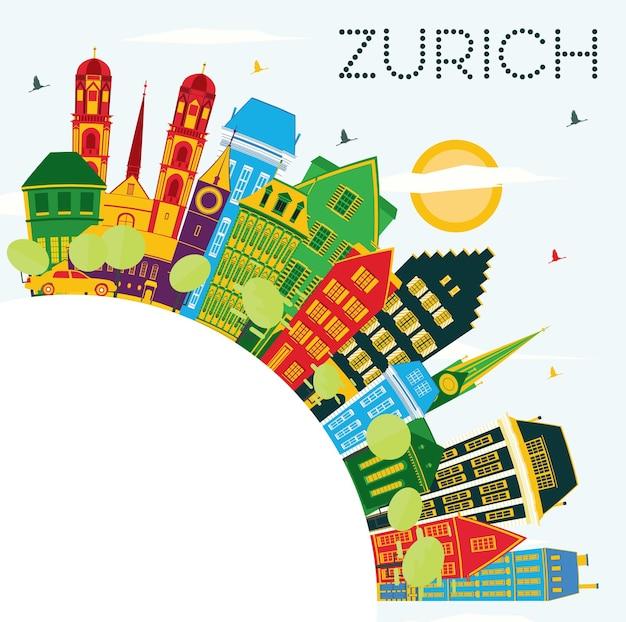 Horizon de ville de zurich suisse avec les bâtiments de couleur, le ciel bleu et l'espace de copie. illustration vectorielle. concept de voyage d'affaires et de tourisme avec les bâtiments historiques de zurich. paysage urbain de zurich avec des points de repère.
