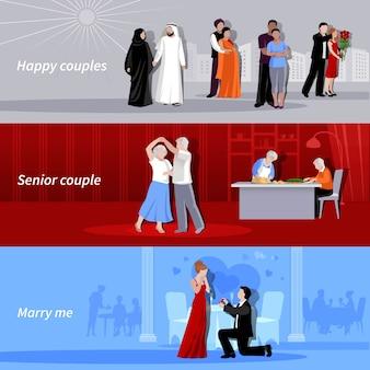 Horizontaux couples heureux personnes de différents âges et nationalités intérieurs et extérieurs des arrière-plans plats isolés vector illustration