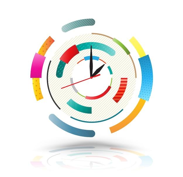 Horloge abstraite colorée.