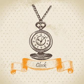 Horloge ancienne. illustration dessinée à la main