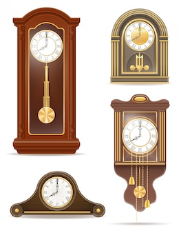 Horloge ancienne rétro set vector illustration