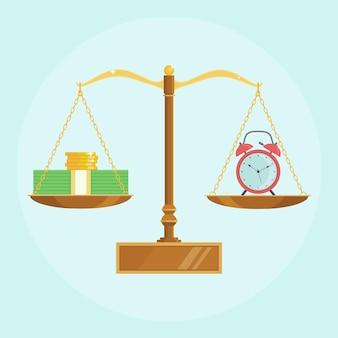 Horloge, argent sur les balances. revenu annuel de dépôt bancaire, investissement financier. le temps, c'est de l'argent