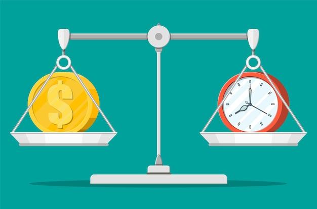 Horloge et argent sur des balances. revenu annuel, placement financier, épargne, dépôt bancaire, revenu futur, avantage monétaire. le temps est le concept de l'argent. illustration vectorielle dans un style plat