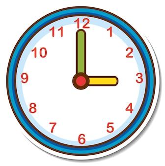 Horloge autocollante sur fond blanc
