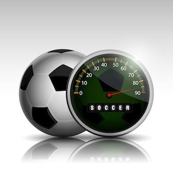 Horloge balle de football en cours d'exécution match de football à temps plein