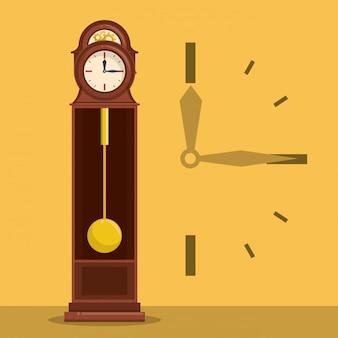 Horloge en bois antique avec symbole des mains