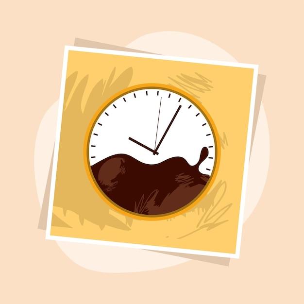 Horloge carrée de l'heure du café