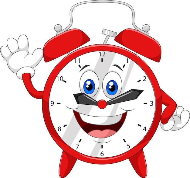Horloge dessin animé, agitant la main