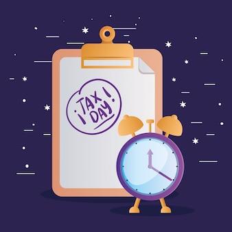 Horloge et document de jour d'imposition