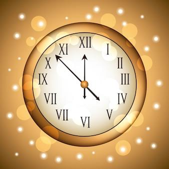 Horloge dorée arrondie avec des paillettes scintillantes en or
