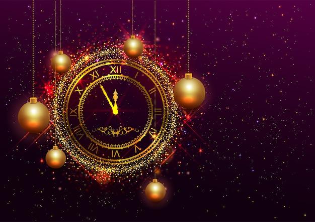 Horloge du nouvel an en or avec chiffres romains