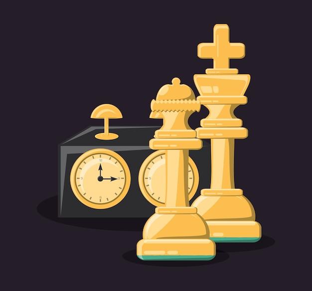 Horloge d'échecs avec des pièces de roi et de reine