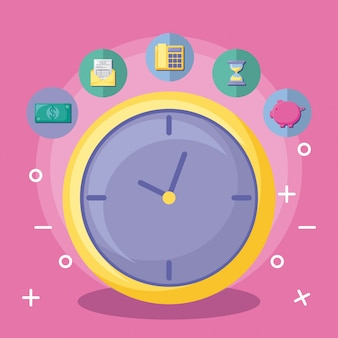 Horloge avec économie et finances avec jeu d'icônes