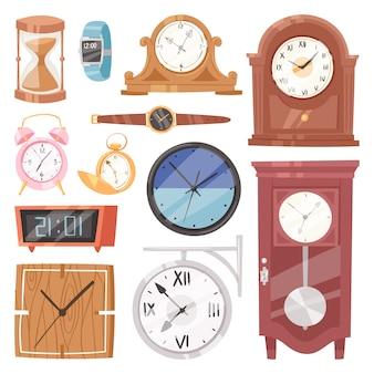 Horloge avec horlogerie et cadran ou montres-bracelets cadencés dans le temps avec des flèches d'heure ou des minutes illustration horloge de réveil réglée isolé sur fond blanc