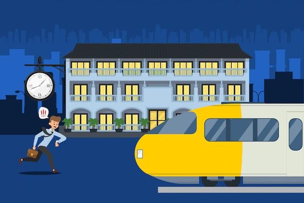 L'horloge montre cet homme en retard pour le train, illustration. le personnage passager regarde la montre et court vers le train qui part.