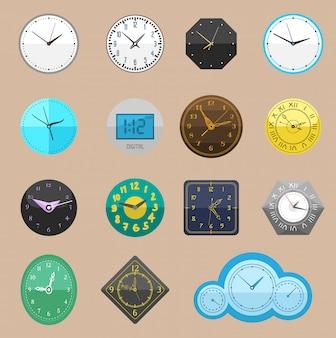 Horloge montre différents rouages d'horloge et cadran d'horloge ou montres-bracelets cadencés dans le temps avec des flèches d'heure ou de minute illustration horloge de réveil réglée isolé sur fond blanc