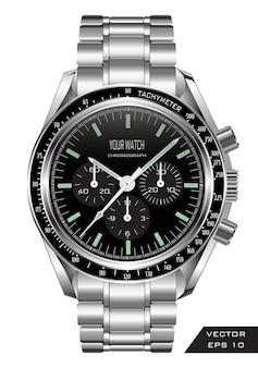 Horloge de montre réaliste chronographe en acier inoxydable de luxe.