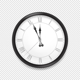 Horloge murale classique ronde isolée sur fond transparent
