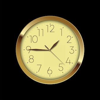 Horloge murale dorée de luxe vintage sur fond noir. vecteur