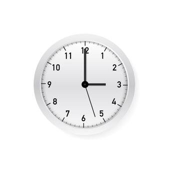 Horloge murale ronde classique simple vecteur blanc et blanc