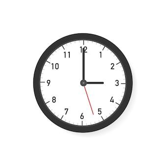 Horloge murale ronde simple classique noir et blanc de vecteur