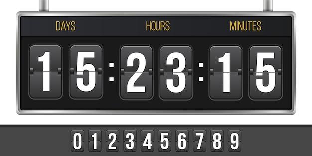 Horloge numérique, compte à rebours, à venir.